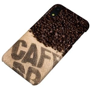 Apple iPhone XR ハードケース【まるっと印刷 VA854 コーヒー豆 光沢仕上げ】 横まで印刷(アップル アイフォンXR/IPHONEXR用)