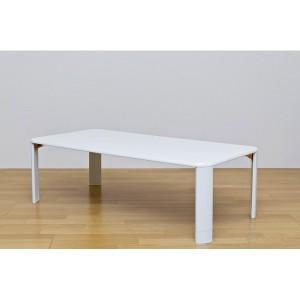 伸長式折りたたみローテーブル/継脚フォールディングテーブル 〔120cm×60cm〕 ホワイト(白) 〔送料無料〕