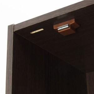鍵付きボックス/扉付き収納ラック 〔4段 ブラウン〕 高さ116cm 背面化粧仕上げ 〔組立〕 〔送料無料〕