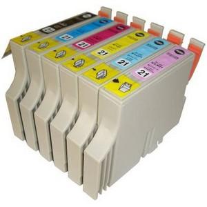 【エプソン(EPSON)対応】IC21-BK/C/M/Y/LC/LM (ICチップ付)互換インクカートリッジ 6色セット 【5セット】 【送料無料】