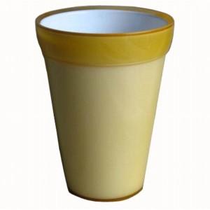 〔2個入〕植木鉢/プランター 〔イエロー 直径13.5cm〕 穴無し イタリア製樹脂ポット 『コッコアルト』 〔園芸用品〕 〔送料無料〕