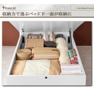 収納ベッド シングル ラージタイプ 〔ポケットコイルマットレス(ハード)付き〕 ホワイト ガス圧式跳ね上げ収納ベッド 〔送料無料〕