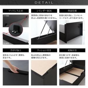 収納ベッド セミシングル 縦開き 深さラージ 〔フレームのみ〕 フレーム色:ブラック 大容量収納跳ね上げ式ベッド 〔送料無料〕