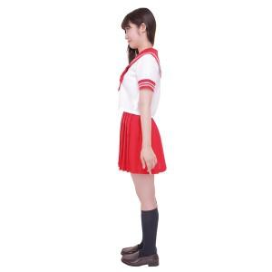 制服/コスプレ衣装 〔レッド 4Lサイズ〕 洗える セーラーブラウス リボン スカート付き ポリエステル 『カラーセーラー』 〔送料無料〕