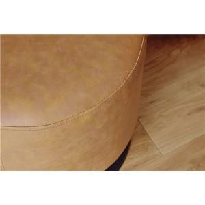 回転式ラウンドスツール/腰掛け椅子 【キャメル】 直径40cm 張地:ソフトレザー スチールフレーム  【送料無料】