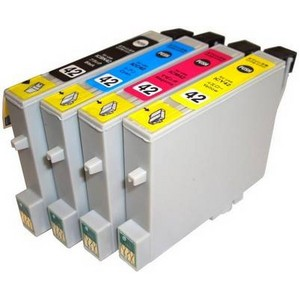 〔エプソン(EPSON)対応〕IC42-BK/C/M/Y (ICチップ付)互換インクカートリッジ 4色セット 〔2セット〕 〔送料無料〕