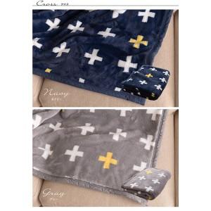 mofua プレミアムマイクロファイバー毛布plus ジャギー柄 マルチ(140×100) ブラック 〔送料無料〕