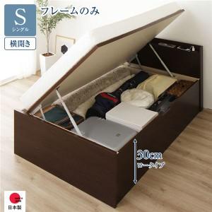 跳ね上げ 薄型宮付き 収納ベッド 〔横開き 浅型 シングル 通常丈 ベッドフレームのみ〕 背面化粧 大容量 日本製 ダークブラウン