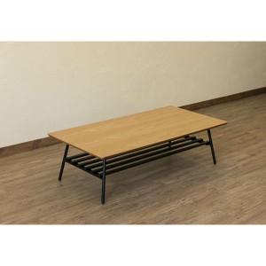 棚付き折れ脚テーブル/折りたたみローテーブル 〔幅120cm オーク〕 棚板取り外し可 『Luster』 木目調 〔完成品〕 〔送料無料〕