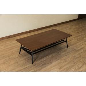 棚付き折れ脚テーブル/折りたたみローテーブル 〔幅120cm ウォールナット〕 棚板取り外し可 『Luster』 木目調 〔完成品〕 〔送料無料〕