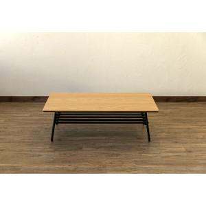棚付き折れ脚テーブル/折りたたみローテーブル 〔幅105cm オーク〕 棚板取り外し可 『Luster』 木目調 〔完成品〕 〔送料無料〕