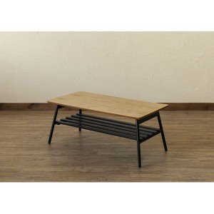 棚付き折れ脚テーブル/折りたたみローテーブル 〔幅80cm オーク〕 棚板取り外し可 『Luster』 木目調 〔完成品〕 〔送料無料〕