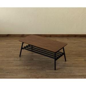棚付き折れ脚テーブル/折りたたみローテーブル 〔幅80cm ウォールナット〕 棚板取り外し可 『Luster』 木目調 〔完成品〕 〔送料無料〕