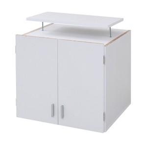 『ロッカーシリーズ』専用 上置き棚 〔ホワイト 幅59.5cm〕 地震対策用天井つっぱり 扉収納付き 『ロッカーシリーズ』 〔送料無料〕