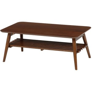 折れ脚テーブル(ローテーブル/折りたたみテーブル) 長方形 幅90cm 木製 収納棚付き ブラウン 〔送料無料〕