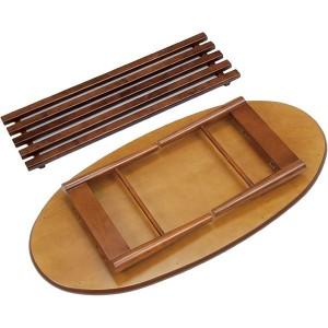 折れ脚テーブル(ローテーブル/折りたたみテーブル) 楕円形 幅100cm 木製 収納棚付き ブラウン 〔送料無料〕