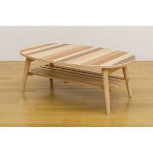 ミックスウッド オーバル型ローテーブル/折りたたみテーブル 〔幅90cm〕 ナチュラル 木製 収納棚付き 〔完成品〕 〔送料無料〕