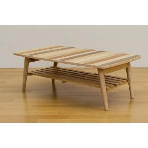 ミックスウッド スクエア型ローテーブル/折りたたみテーブル 〔長方形 幅90cm〕 ナチュラル 木製 収納棚付き 〔完成品〕 〔送料無料〕