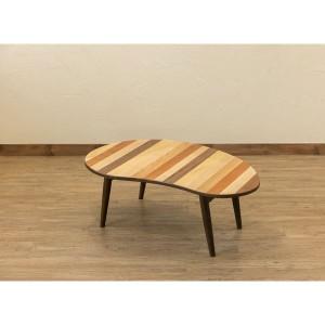 ミックスウッド ビーンズ型ローテーブル/折りたたみテーブル 〔幅90cm〕 ブラウン 木製 〔完成品〕 〔送料無料〕