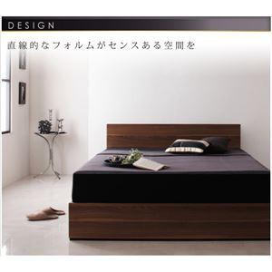 収納ベッド セミダブル 〔ボンネルコイルマットレス:ハード付き〕 ウォールナットブラウン シンプルモダンデザイン 収納ベッド
