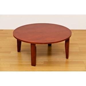 NEWラウンドテーブル/折りたたみローテーブル 〔丸型 直径75cm〕 ブラウン 木製 木目調 〔完成品〕 〔送料無料〕