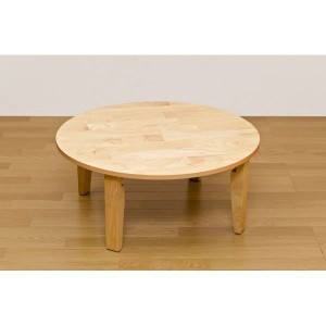 NEWラウンドテーブル/折りたたみローテーブル 〔丸型 直径90cm〕 ナチュラル 木製 木目調 〔完成品〕 〔送料無料〕