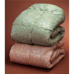 ウールキルト加工掛け布団/寝具 〔2色組 シングルサイズ/ピンク・グリーン〕 軽量仕上げ オールシーズン対応 ニュージーランド産