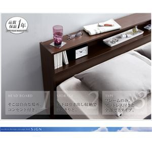 収納ベッド ダブル 〔フレームのみ〕 フレーム色:ダークブラウン 宮付き コンセント付き引き出し収納ベッド 〔送料無料〕