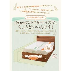 収納ベッド シングル 〔フレームのみ〕 フレーム色:ウォルナットブラウン ショート丈 宮付き コンセント付き収納ベッド 〔送料無料〕