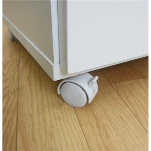 ダストボックス/蓋付きゴミ箱 【2分別】 幅55cm キャスター付き ホワイト(白) 【完成品】 【送料無料】