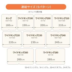 日本製 連結ベッド 照明付き フロアベッド  ワイドキングサイズ200cm(S+S) (フレームのみ)『Tonarine』トナリネ ブラック
