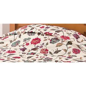 花柄フリル付きベッドカバー 〔ダブルサイズ〕 手洗いOK 〔送料無料〕