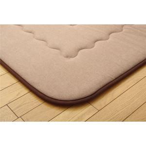 インド綿 ふっくら 厚敷き フロアマット 『アルフ F敷』 ブラウン 190×190cm 〔送料無料〕