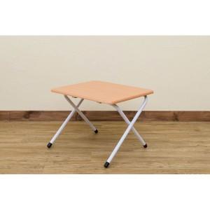 折りたたみミニテーブル/サイドテーブル 〔ロータイプ〕 ビーチ(BE) 幅48cm×高さ35.5cm スチール脚 木目調 〔完成品〕 〔送料無料〕