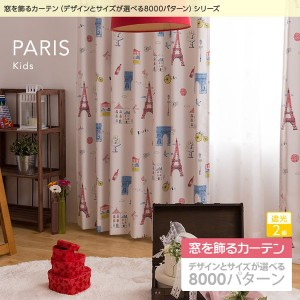 窓を飾るカーテン キッズ 子供部屋 PARIS(パリス) 遮光2級 形態安定 (AL) 幅150cm×丈110cm(2枚組) グリーン 〔送料無料〕
