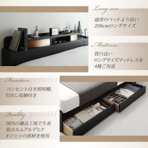 収納ベッド セミダブル【Roi-long】【フレームのみ】 ブラウン 棚・照明付き収納ベッド【Roi-long】ロイ・ロング 【送料無料】