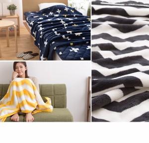 〔毛布単品〕mofua プレミアムマイクロファイバー毛布plus クロス柄 シングル ネイビー 〔送料無料〕