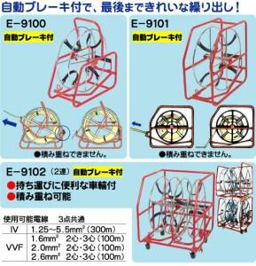 電線リール 〔リール径:φ450mm (2連)〕 積み重ね可能 自動ブレーキ付き プロメイト E-9102 〔送料無料〕