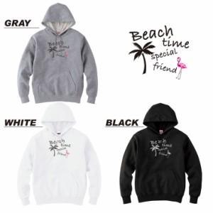 デザイン パーカー ブラック グレー ホワイト スウェット メンズ レディース  プルオーバー beach フラミンゴ 南国
