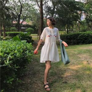 natu-loha「花柄刺繍が可愛い?」ふわっと感が大人っぽいワンピース 2018 春夏秋 PTX5227