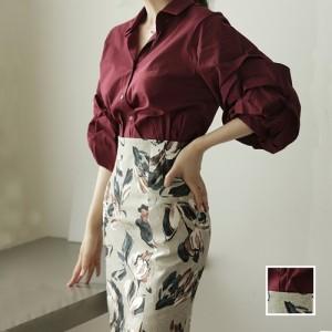 18251d34f895d 韓国 ファッション レディース セットアップ 秋 冬 春 パーティー ブライダル nalo6687 ワインレッド 袖コンシャス 花柄