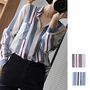 ブラウス・シャツ 長袖 定番スタイル 大きめ きれいめ クール 羽織 ストライプ 通勤 シンプル オフィス レッド ブルー S M L XL