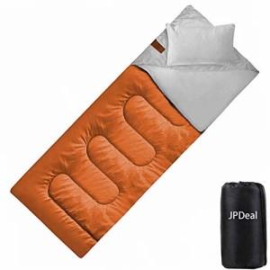 JPDeal 寝袋 封筒型 シュラフ コンプレッションバッグ 枕付き 210T防水シュラフ 連結可能 保温 軽量 コンパクト アウトドア 登山 キャン