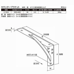 サヌキ カウンターブラケット LY-834 200×400×38 ホワイト