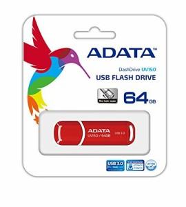 ADATA USBメモリ 64GB USB3.0 キャップ付 レッド AUV150-64G-RRD