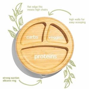 Smart Start Avanchy アヴァンシー ひっくり返らない 竹食器 プレート 吸盤・スプーン付き グリーン