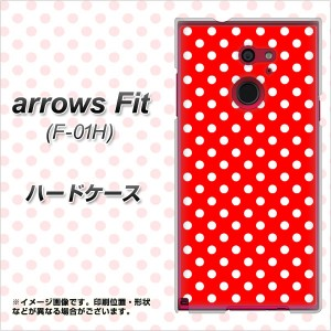 docomo arrows Fit F-01H ハードケース / カバー【055 ドット柄(水玉)レッド×ホワイト 素材クリア】(アローズFit F-01H/F01H用)