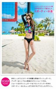 水着 体型カバー フィットネス 黒 レディース 大きいサイズ 長袖 送料無料 花柄ラッシュガード 花柄 2点セット スポーツウェア