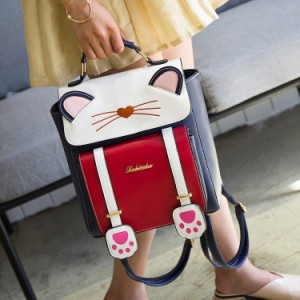 リュック 猫 リュックサック 可愛い ねこ耳 バッグ キャンバス 軽量 学生 通学 レディース キズ 大容量 バックパック アウトドア