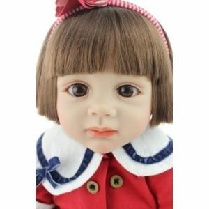 トドラー人形 プリンセスドール リボーンドール 抱き人形 約60cm 衣装付き ブラウンのおかっぱボブヘア ブラウンアイ 女の子